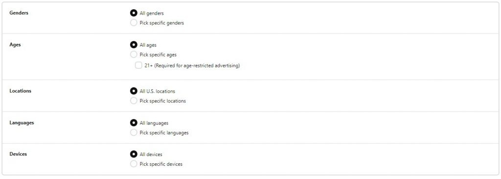 pinterest ad demographic options
