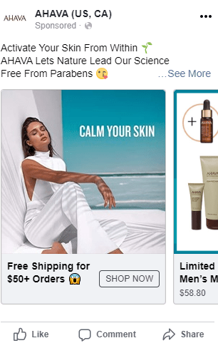 Carousel ad example ecommerce