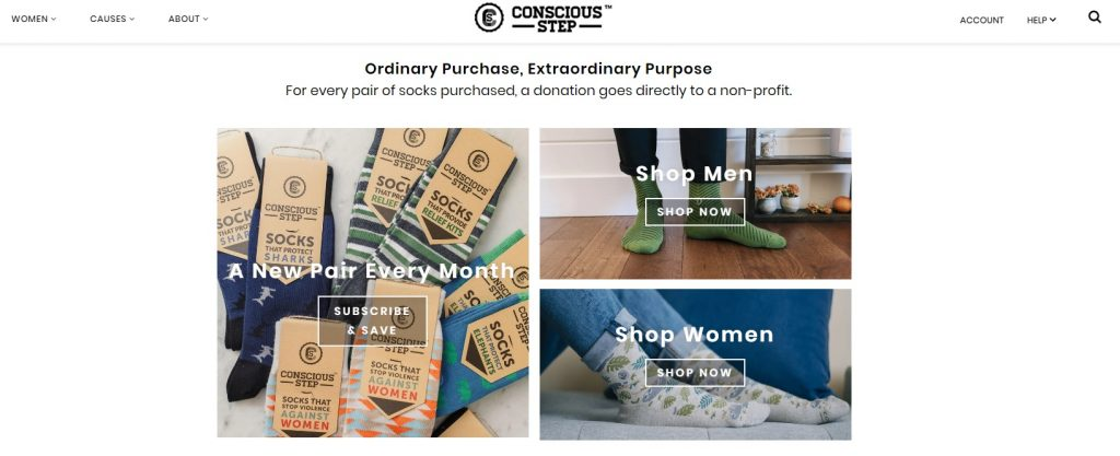 conscious step adding charity donation for products