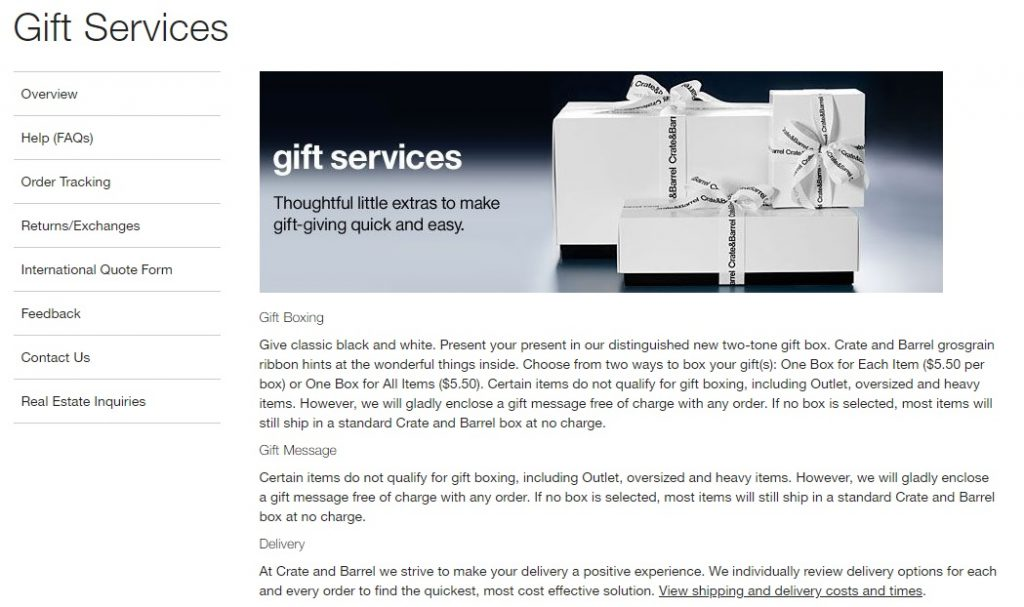 gift wrapping services eCommerce