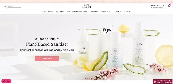 100 pure eCommerce website design example