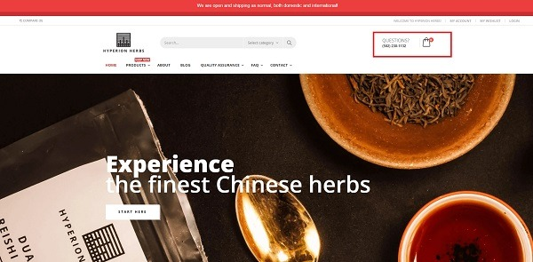 Hyperion Herbs home page example