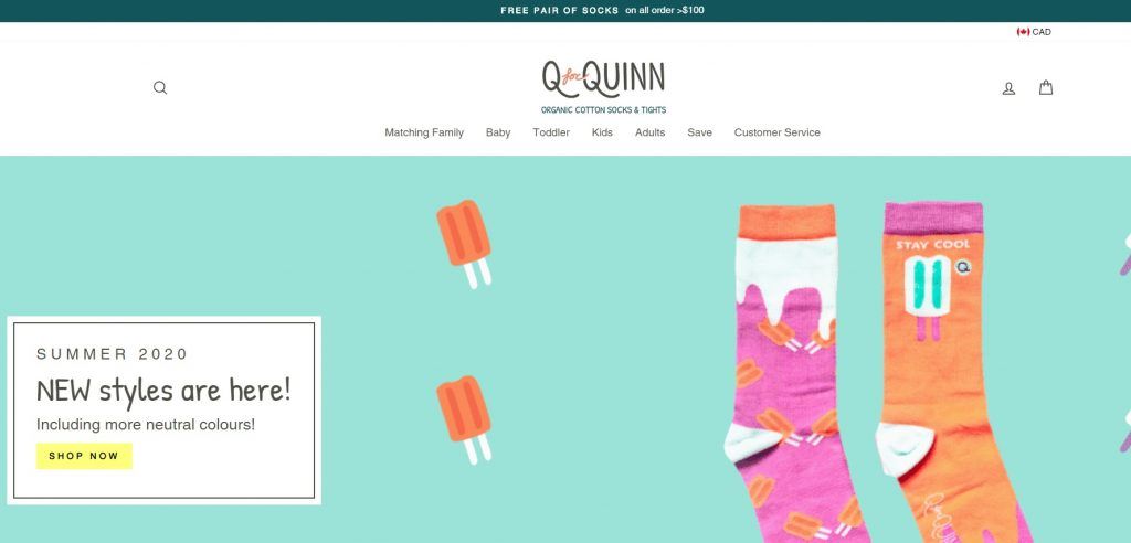 Q for quin online sock store