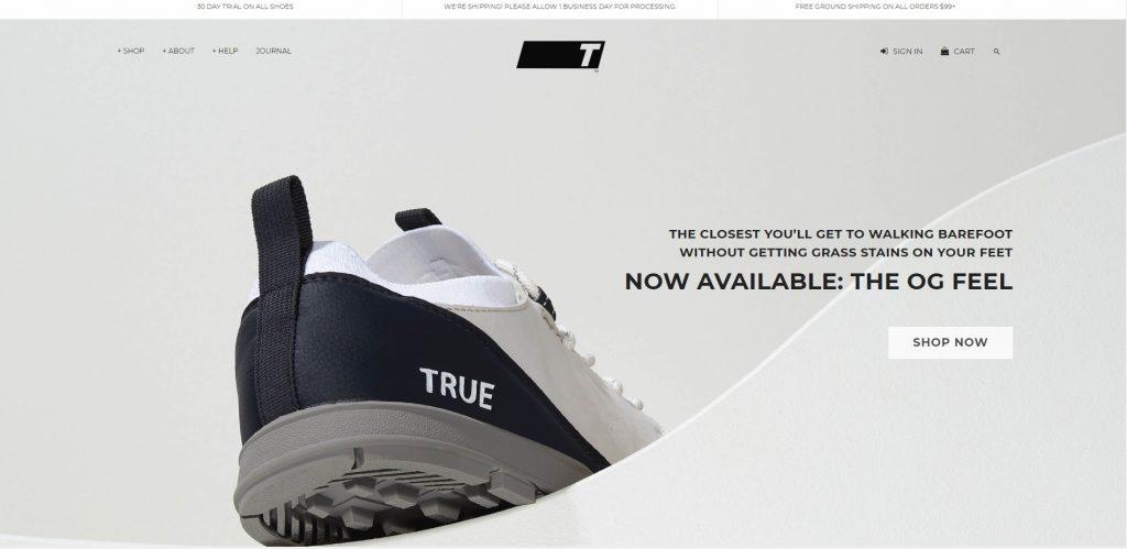 True shoes online store design example