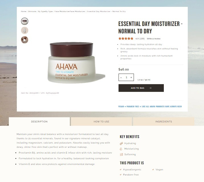 ahava best ecom store product page examples