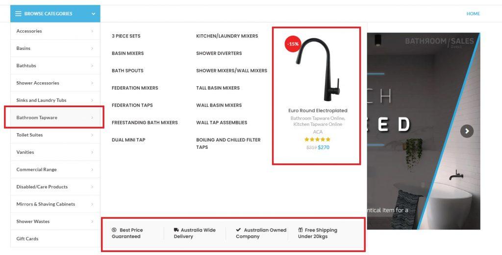 bathroom store menu design example ecommerce