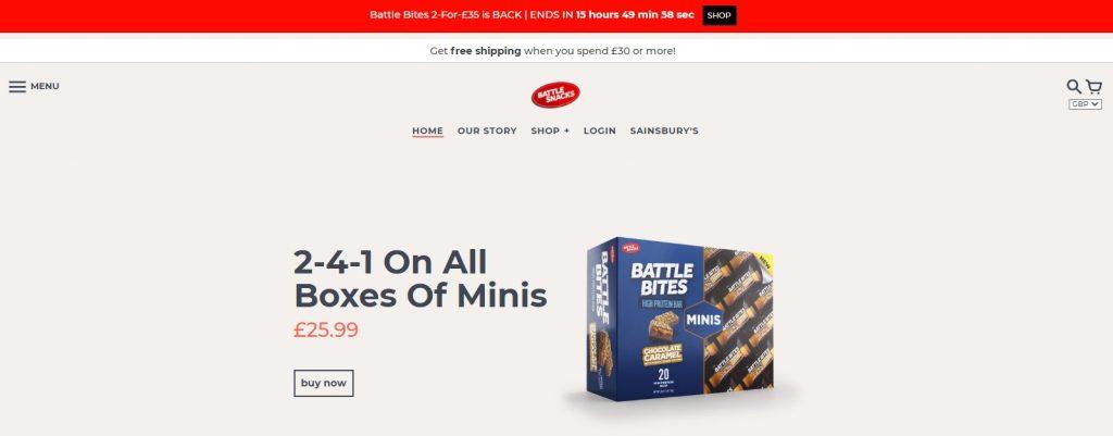 battle snacks simple website design