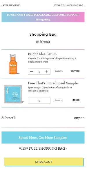 bliss beauty eCommerce checkout cart page