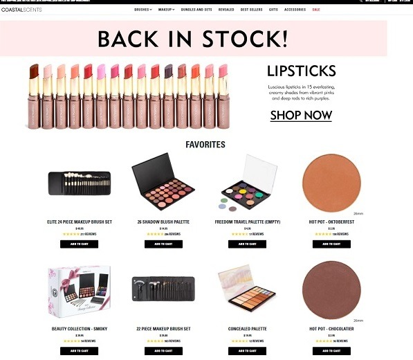 coastal scents home page store example