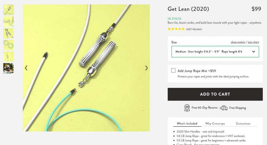 cross rope ecommerce product page example
