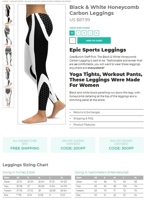 gearbunch legging store product page example
