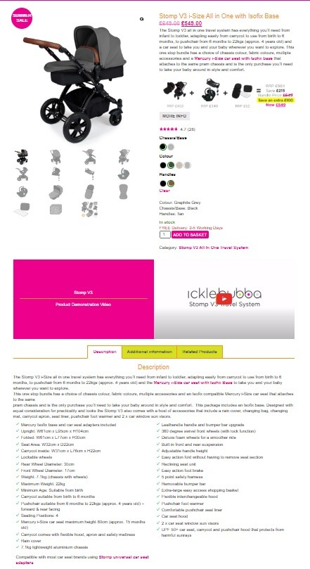 ickle bubba eCommerce prduct page example