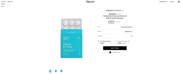 neuro eCommerce product page design example