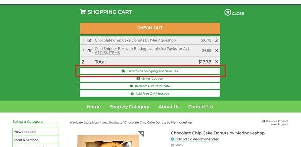 vegan essentials popup cart