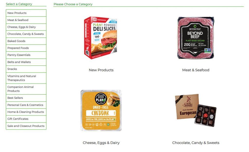 vegan essentials product categories