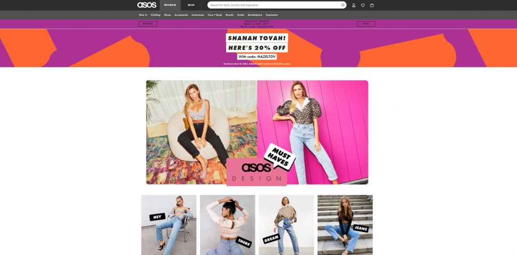 Asos personalized navigation example