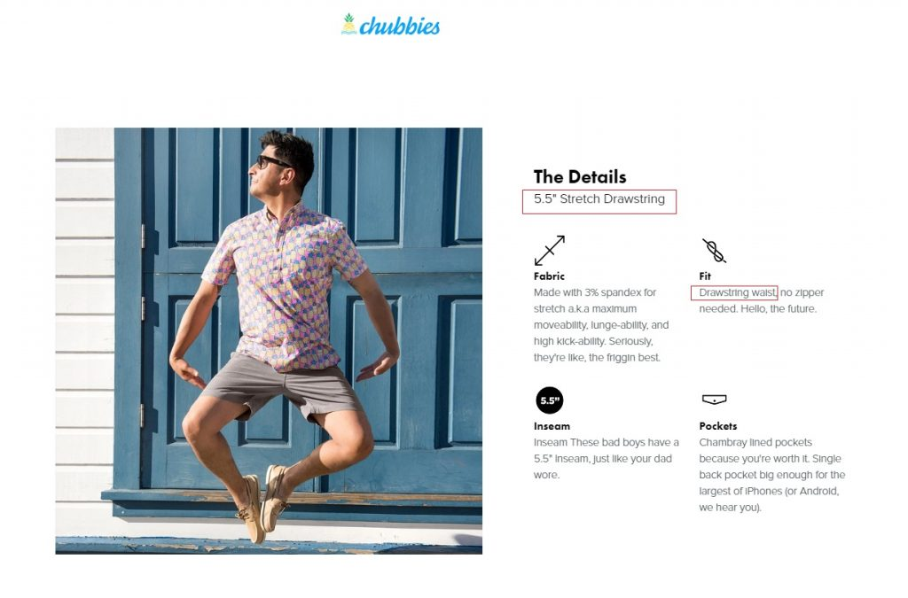 chubbies store example product descriptions
