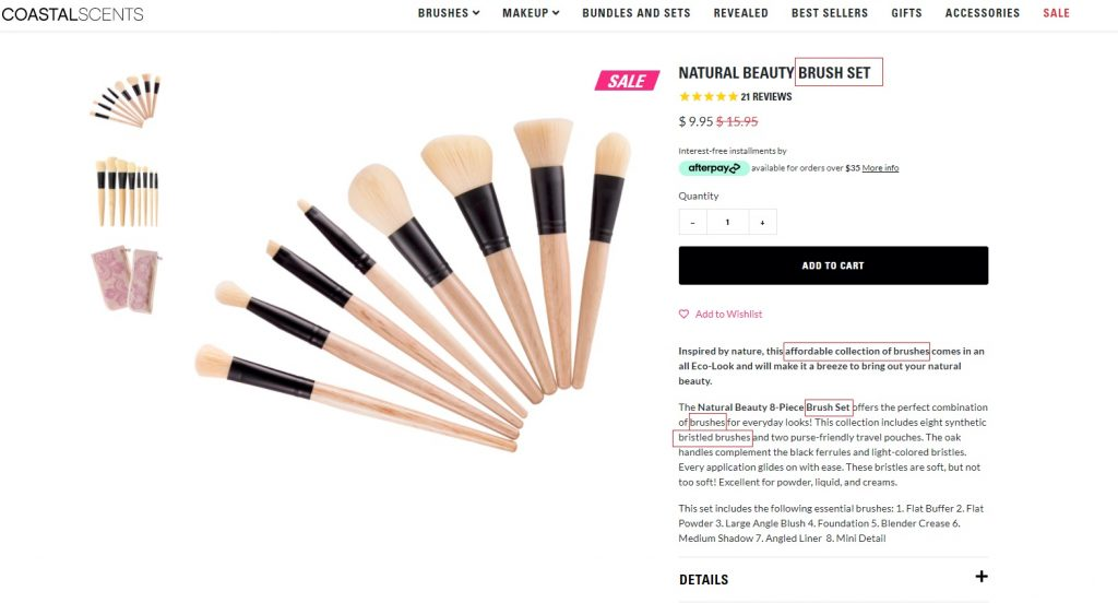 coastal scents product description example eCommerce
