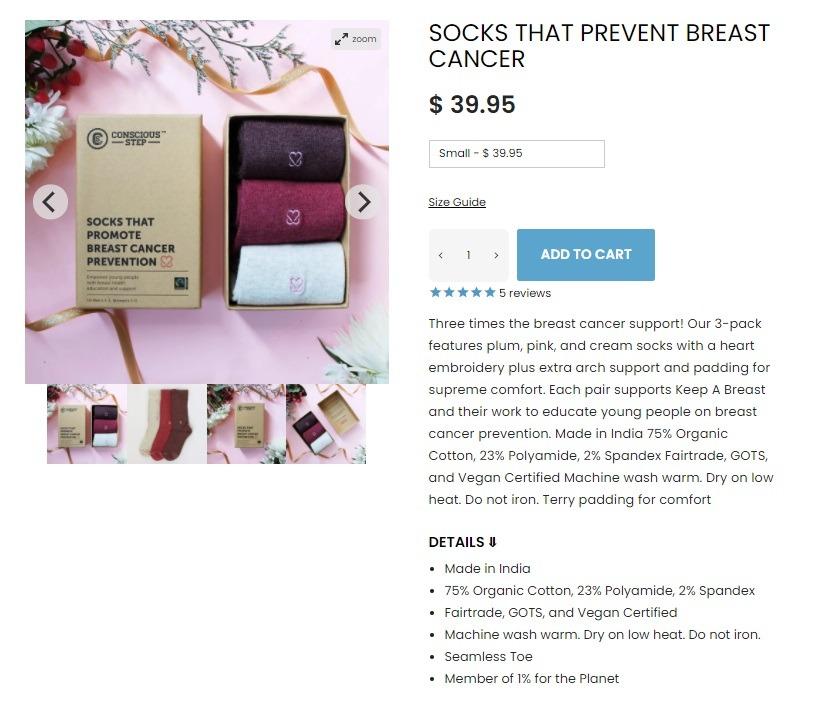 conscious step online store product description example