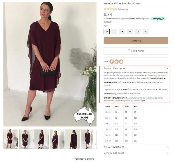 dressox online store product description example