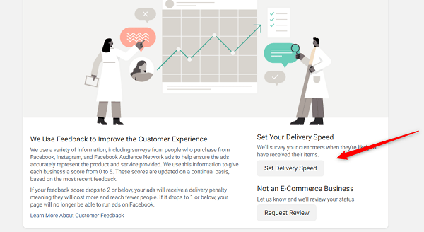 how to change expected delivery setting Facebook