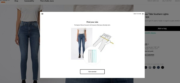 nude jeans eCommerce size guide example