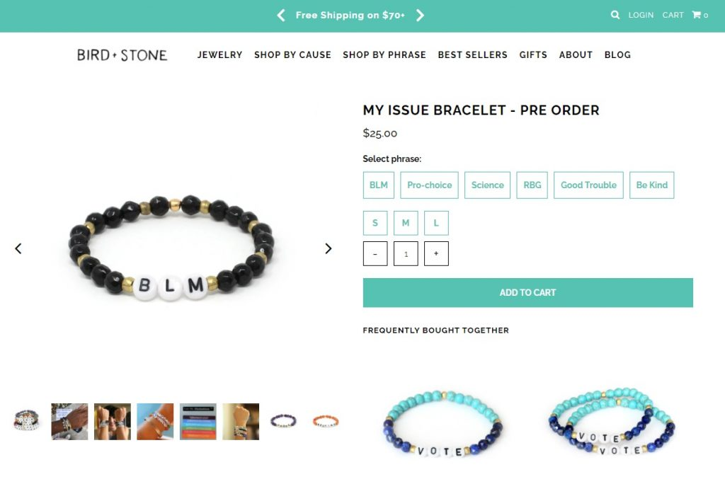 Bird Stone online jewelry instagram store example