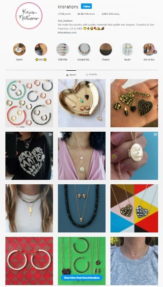 kris nations online jewelry instagram store example