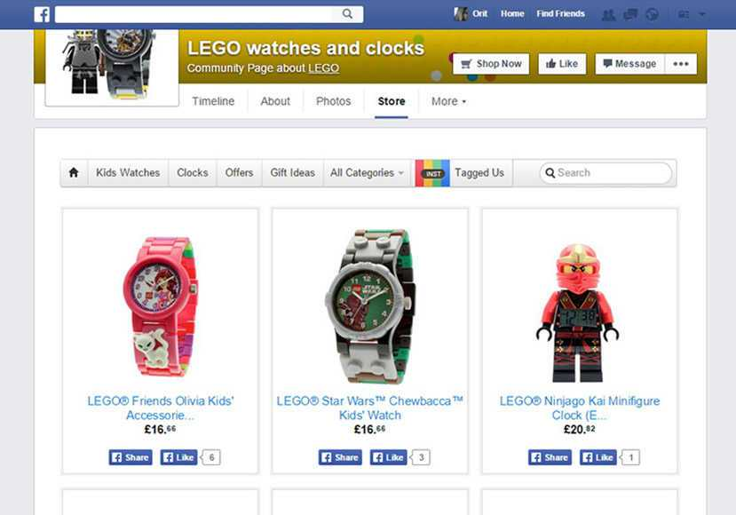 lego Facebook store example