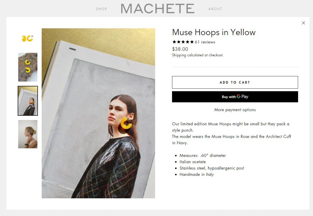 machete online jewelry store product page example