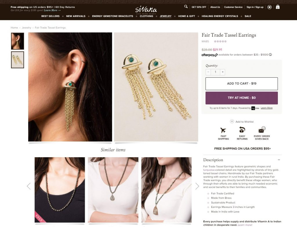 siwana online jewelry store example