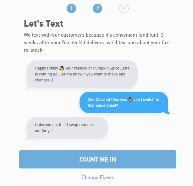 eCommerce sms strategy example veve