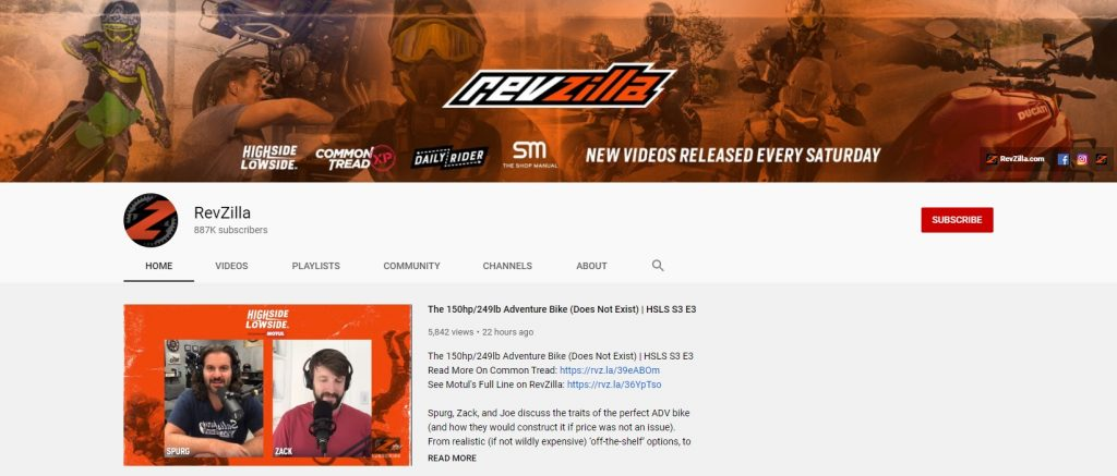 RevZilla YouTube channel example online store