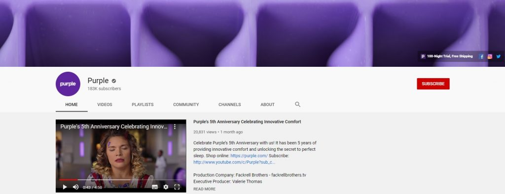 purple eCommerce youtube channel example