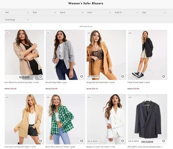 ecommerce apparel store example ASOS blazers