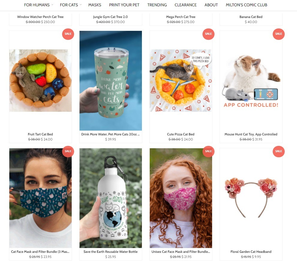 online cat store example with apparel products