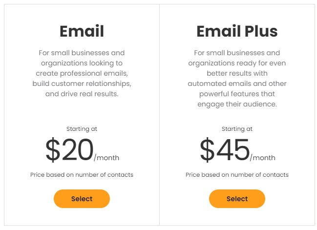 Constant Contact pricing options