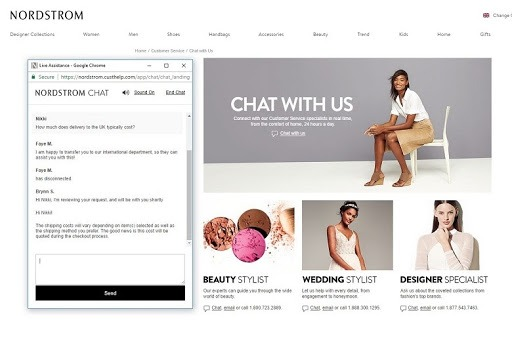 categorized live chat for store